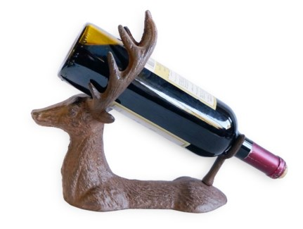 Reindeer Wine Bottle Holder, antique rust finish, 10.4x4.4x9.4 inch. On Sale 25 percent off