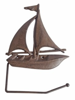 Sailboat Toilet Paper Holder, antique rust finish 10.6x7.5x1.2 inches*Last Chance!!*