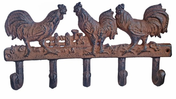 Rooster Trio 5 Hook Hanger, Cast Iron, Antique Rust, 11x1.5x5.5 inches (min 4) On Sale 25 percent of