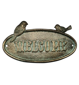 """Cast Iron Sign, Antique Green,welcome"""