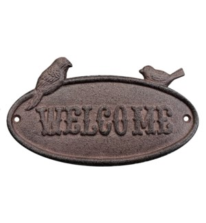 """Cast Iron Sign, Antique Rust,welcome"""