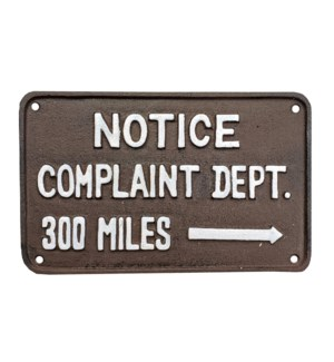 """Cast Iron Sign, antique rust, complaint departme"""