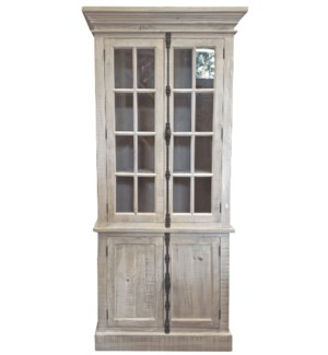 Madeline Cabinet, White Washed, Reclaimed Pinewood, 39x17.7x86.6inch