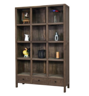 Huron 12 cubby Bookshelf Cabinet, Dark Brown, Reclaimed Pinewood, 47x15x74.8inch