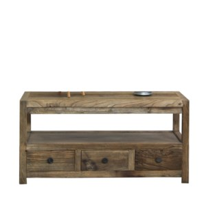 """Huron Coffee Table With Storage, Dark Brown, Reclaimed Pinewood, 39x17.7x19.7inch"""