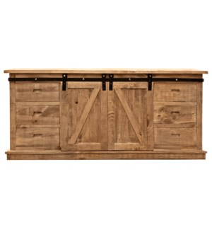 Erie Buffet Cabinet, Natural, Reclaimed Pinewood, 67.7x17.7x31.9inch