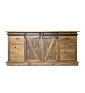 Erie Buffet Cabinet, Dark Brown, Reclaimed Pinewood, 67.7x17.7x31.9inch