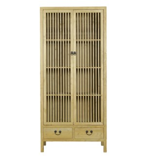 Ohrid Cabinet, Natural, Recycled Elmwood, 35.4 x 15.7 x 78 Inches