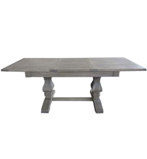 Reclaimed Superior Adjustable Dining Table, Grey, Reclaimed Elmwood, 63-86.6x31.5x30.7inch