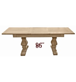 Superior Adjustable Dining Table, Natural, Reclaimed Elmwood, 63-86.6x31.5x30.7inch