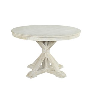 Aral Dining Table, White Washed, Recycled Elmwood, 47x47x30 Inches