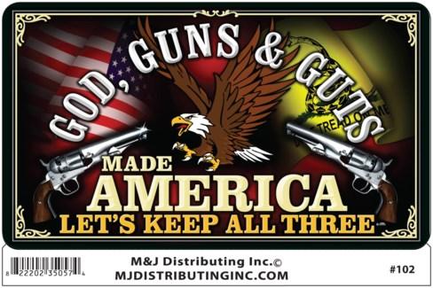 Sticker God, Guns & Guts