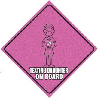Texting Daughter on Board Window Cling
