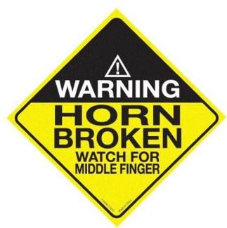 Warning horn Broken Window Cling