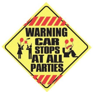 Warning Car Stops at all Parties Window Cling