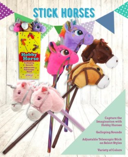 Horse 30 in. assorted with stick and sound 18/DP