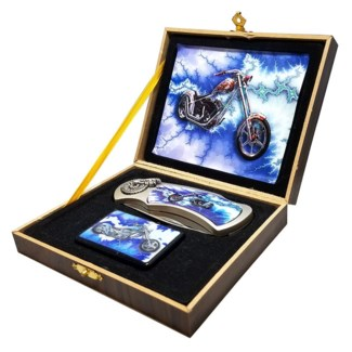 Blue Arrow Motorcycle Knife with Lighter Set