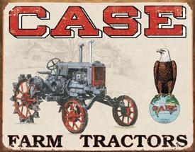 Case Farm Tractors Metal Sign