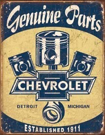 Chevy Parts Pistons Tin Sign