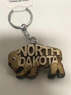 ND Bison Wood KC w cut out letters