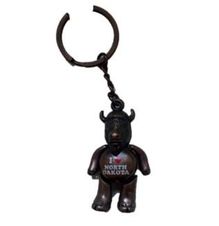 Buffalo w/Moving Parts Key Ring - bronze