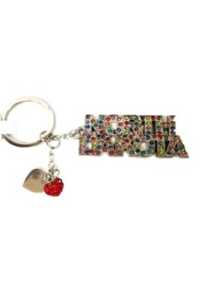 ND 2 Hearts Word Bling Keychain
