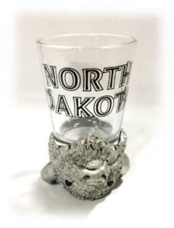 ND Buffalo Head Upside Down Shot Glass