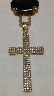 Gold Cross Bling Necklace **Discontinued**