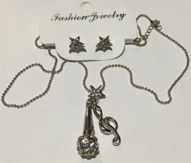 Microphone Necklace Earring Set  **Discontinued**