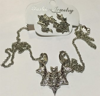 Bling Bat Necklace Earring Set