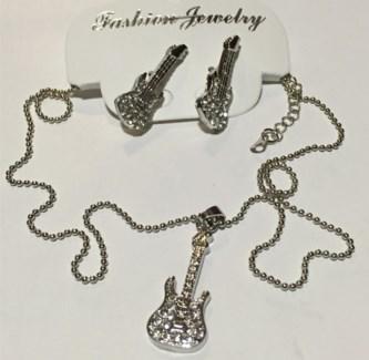 Bling Guitar Necklace Earring Set