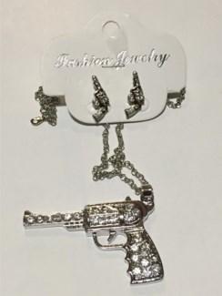 Gun Necklace Earring Set