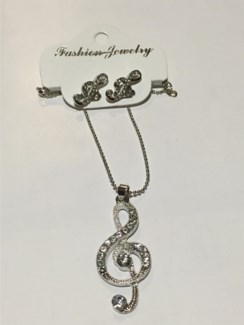 Treble Clef Necklace Earring Set  **Discontinued**