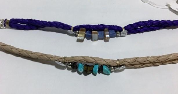 Stone Cluster Leather Bracelets