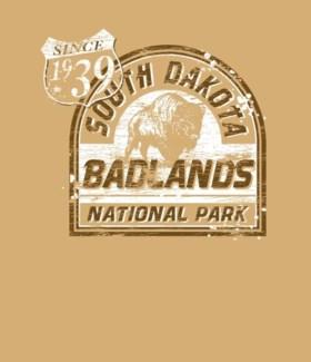 Badlands Tee- Badlands National Park Tan- S