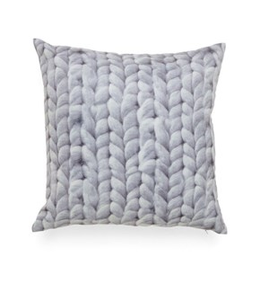 Cable Knit Printed Cushion Cover Grey