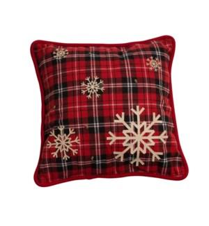 Snowflake Tartan Cushion Cover Red