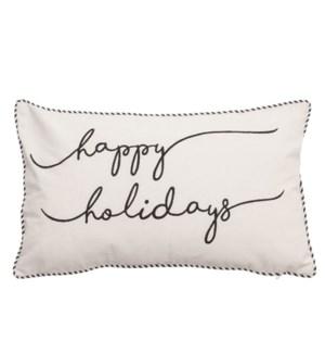 Happy Holiday Script Cushion Cover Cream/Black