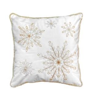 Embroidered Velvet Snowflake Cushion Cover Gold