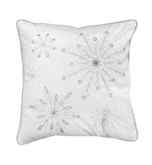 Embroidered Velvet Snowflake Cushion Cover Silver