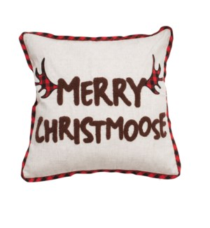 Merry Christmoose Cushion Cover Natural/Red