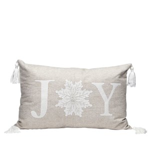 Joy Embroidered Tassel Cushion Cover Natural