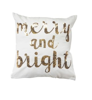 Merry & Bright Sequin Cushion Cover Gold