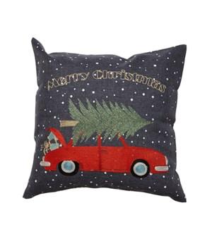 Merry Christmas Car Cushion Cover Charcoal