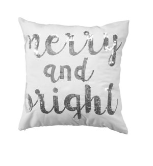 Merry & Bright Sequin Cushion Cover Silver