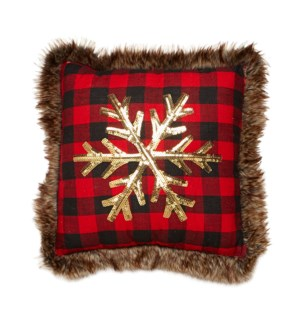 Buffalo Check Sequin Cushion Cover Red