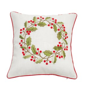 Wreath Cushion Cover Natural/Red