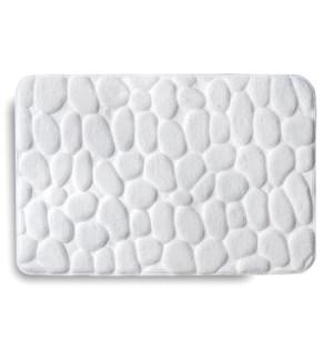 Embossed Stone Memory Foam Bath Mat White