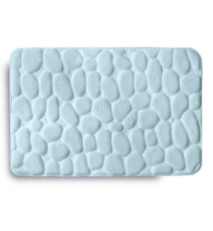 Embossed Stone Memory Foam Bath Mat Aqua
