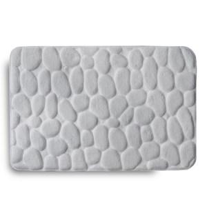 Embossed Stone Memory Foam Bath Mat Grey